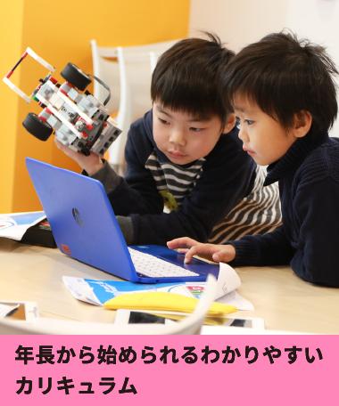 プログラミング教室ロボ団北浦和校の特徴1(年長から始められるわかりやすいカリキュラム)
